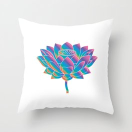 Blue Rainbow Lotus Holly Flower Throw Pillow