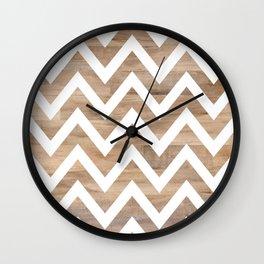 woodgrain cheveron Wall Clock
