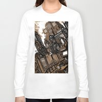 cityscape Long Sleeve T-shirts featuring Cityscape by David Miley
