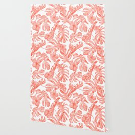 Tropical Hibiscus and Palm Leaves Dark Coral White Wallpaper