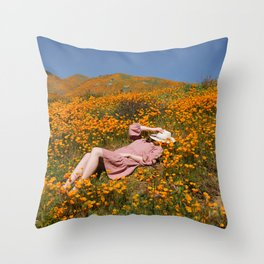 Sleeping in the Poppies Throw Pillow