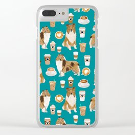 Rough Collie coffee pet portrait dog art by pet friendly latte coffee dog lover gifts Clear iPhone Case