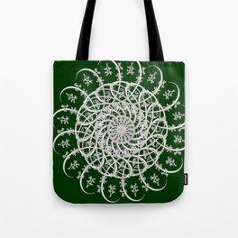 Mandala #104, Deep Green and White Tote Bag