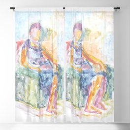 Woman in an armchair 1 watercolor Blackout Curtain