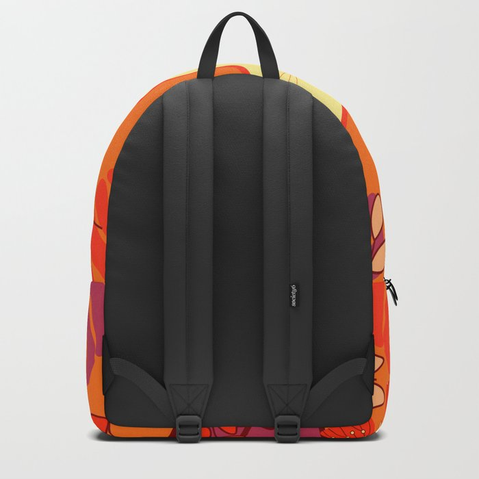 Curious cat, butterflies and leaves Backpack