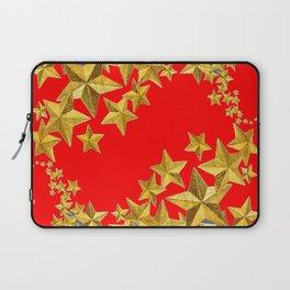 DECORATIVE GOLD  STARS RED CHRISTMAS ART Laptop Sleeve