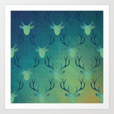 Aqua Antlers Pattern Art Print