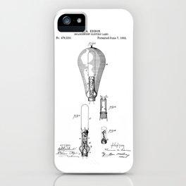 patent art Edison 1892 Incandescent electric lamp iPhone Case