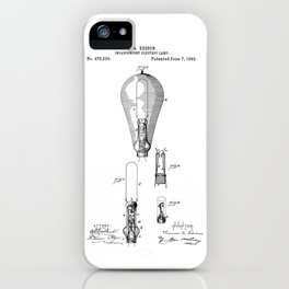 patent art Edison 1892 Incandescent electric lamp iPhone Case