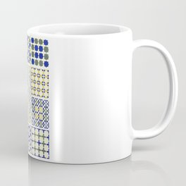 Middle Eastern Tile Patterns in Blue and Yellow Coffee Mug