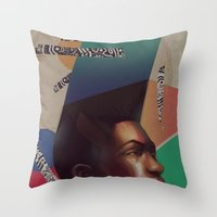 grace Throw Pillows featuring Grace by Galvanise The Dog