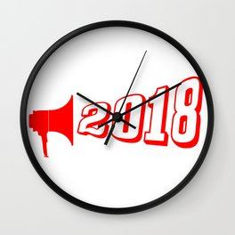 Red 2018 Megaphone Wall Clock