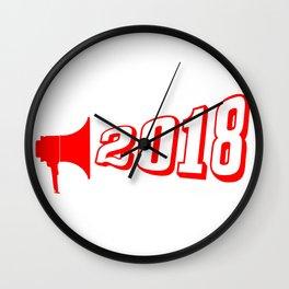 Red 2018 Megaphone Wall Clock