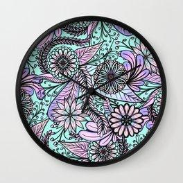 Girly Artsy Pastel Pink Cyan Floral Illustrations Wall Clock