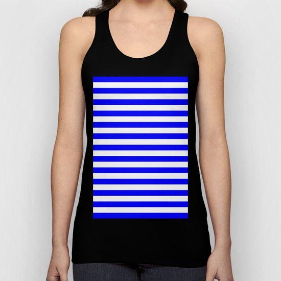 Horizontal Stripes (Blue/White) Unisex Tank Top