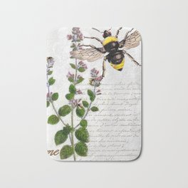 Cottage Style Thyme, Bumble Bee, Hummingbird, Herbal Botanical Illustration Bath Mat