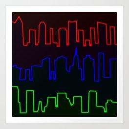Neon Skyline Art Print