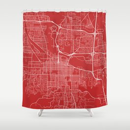 Eugene Map, USA - Red Shower Curtain
