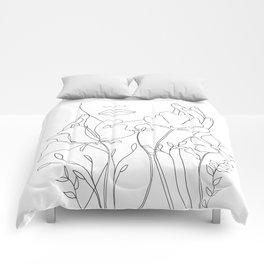 Minimal Line Art Summer Bouquet Comforters