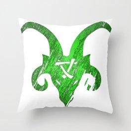 Green Horned Skaven Throw Pillow