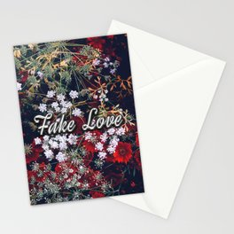 Fake Love Red Floral Stationery Cards