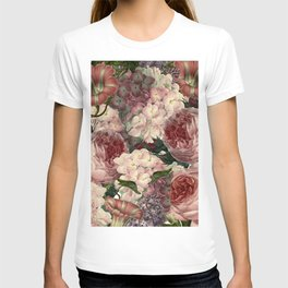 Vintage & Shabby Chic Pink Dark Floral Roses Lilacs Flowers Watercolor Pattern T-shirt