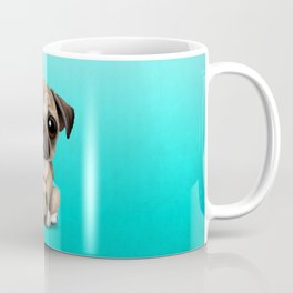 Cute Pug Puppy Dog With Football Soccer Ball Coffee Mug