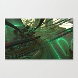 Green Whips (3D Fractal Digital Art) Canvas Print