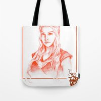 mother of dragons Tote Bags featuring Mother of dragons by Cassie's Wonderland