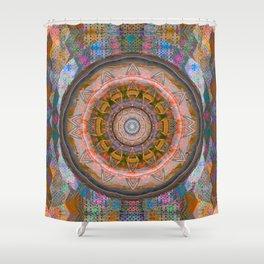 Shabby Chic Boho Peach Ombre Glow Earth Mandala Shower Curtain
