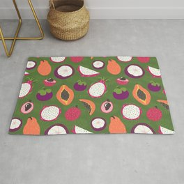Green tropical fruits pattern Rug