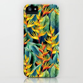 Watercolor heliconia design iPhone Case