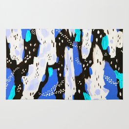 Spotted Abstract in Neon Blue Rug