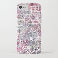 madrid iPhone & iPod Cases featuring Madrid map by MapMapMaps.Watercolors