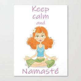 Smiling Girl practising Yoga Lotus Pose Canvas Print