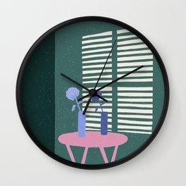 Green Shadows Wall Clock