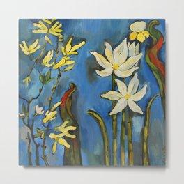 Flowers. Blue Metal Print
