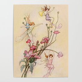 """""""Three Spirits Mad With Joy"""" Art by Warwick Goble Poster"""