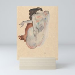 Crouching Nude in Shoes and Black Stockings, Back View - Egon Schiele Mini Art Print