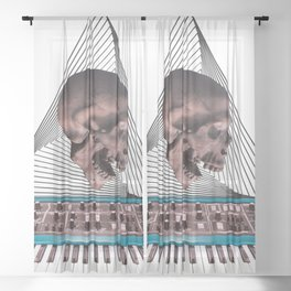 Skull Synthesizer Sheer Curtain