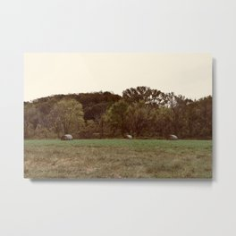 Three Lonely Haybales Metal Print