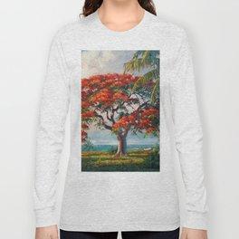 Royal Poinciana Tropical Florida Keys Landscape by A.E. Backus Long Sleeve T-shirt