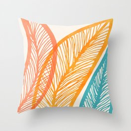 Tropical Flora - Retro Palette Throw Pillow