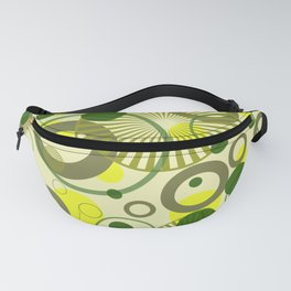 Spirals Bubbles yellow green II Fanny Pack