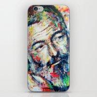hemingway iPhone & iPod Skins featuring Ernest Hemingway by Marta Zawadzka