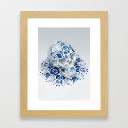 Gzhel Skull Framed Art Print