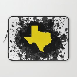 Yellow State of Texas with Black Paint Splatter Laptop Sleeve