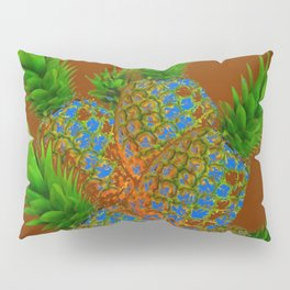 ABSTRACT COFFEE BROWN TROPICAL PINEAPPLES DESIGN Pillow Sham