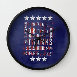 Stars And Stripes Thanksgiving Typography Wall Clock