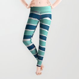 Aqua Teal Stripe Leggings